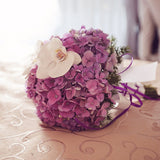 Purple Hydrangea Bridal Bouquet with Phalenopsis