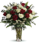 Red and White Roses Arrangement in Vase