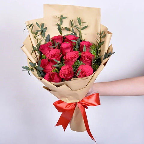 Romantic Dozen Red Roses Bouquet