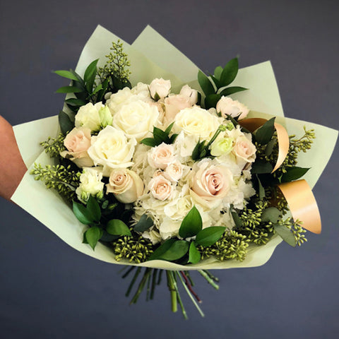 Stylish Bouquet of White Roses
