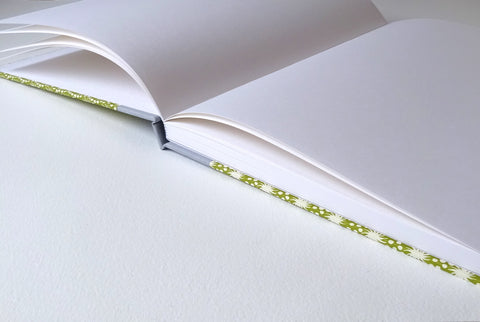 hand bound sketchbook with open pages
