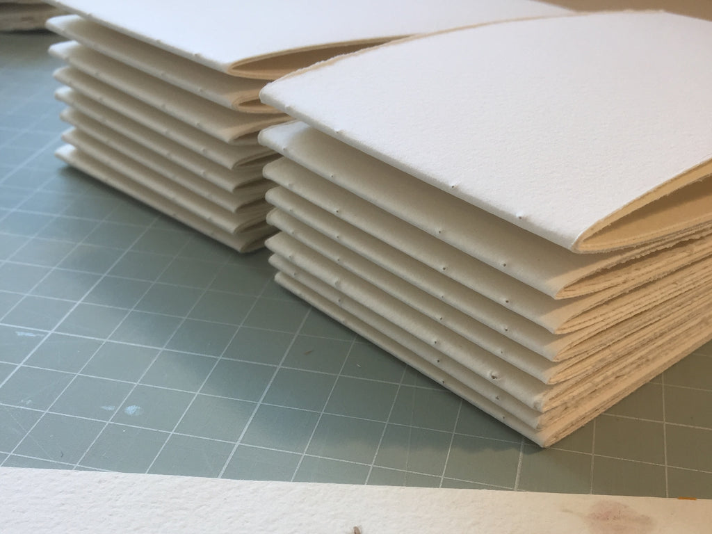 2 hand bound books ready to be sewn