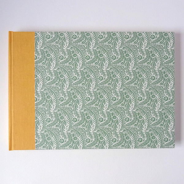 perfect bindings hand bound sketchbook with angie lewin pattern paper forest floor sage