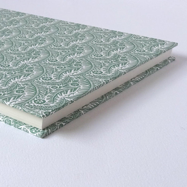 perfect bindings hand bound sketchbook with angie lewin pattern paper forest floor sage foredge detail