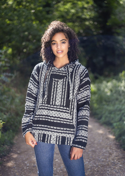 Drug Rug Black Baja Hoodie | Mens & Womens | MADEINMEXI.CO