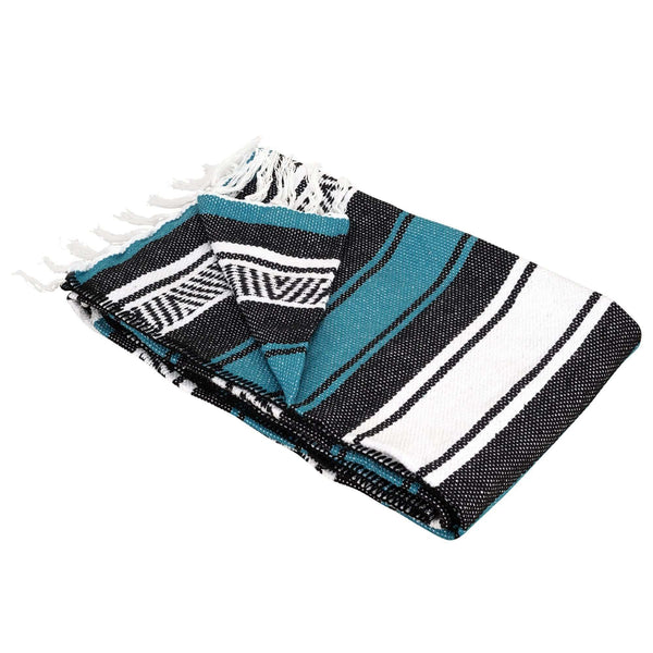 Cotton Falsa Blanket with Fringes Teal - MadeInMexi.co