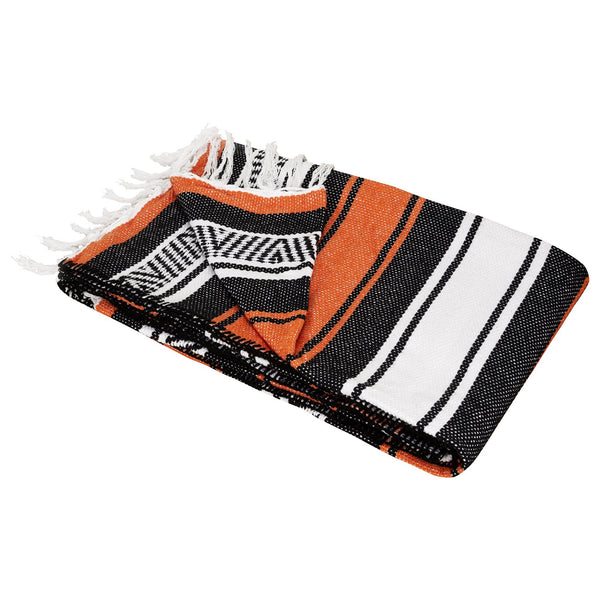Cotton Falsa Blanket with Fringes Orange - MadeInMexi.co