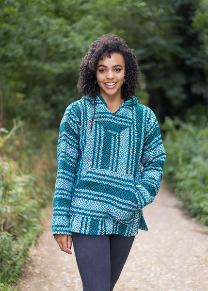 Drug Rug Teal Baja Hoodie | Mens & Womens | MADEINMEXI.CO