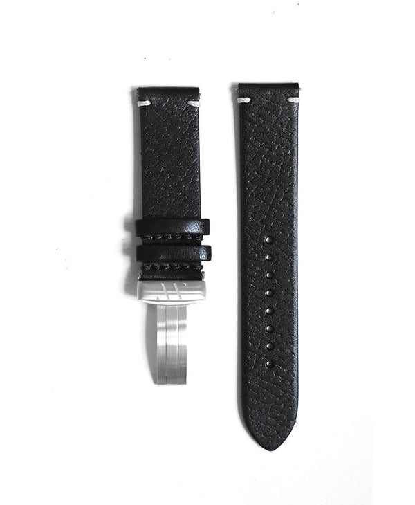 Black leather strap with contrast stitching
