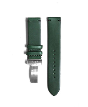 Deep green leather strap with contrast stitching