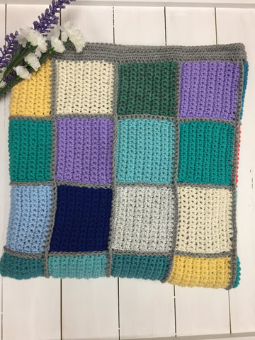 Multi colour square afghan blanket