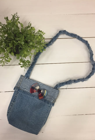 small denim Purse with Bow