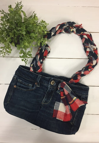 Denim Purse with Plaid