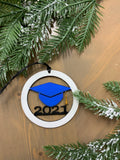 Personalized graduation ornaments.