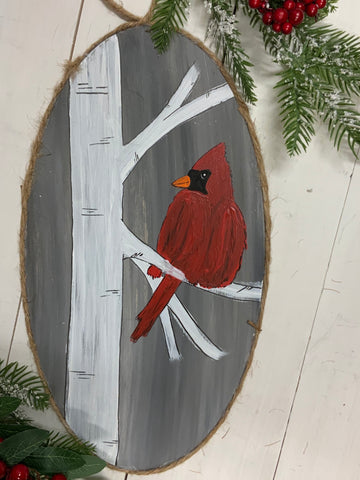 Cardinal painted oval