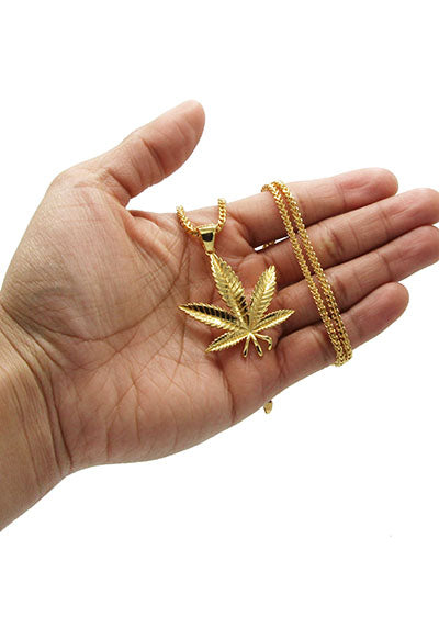Mens Gold Franco Chain & Marihuana Leaf Pendant