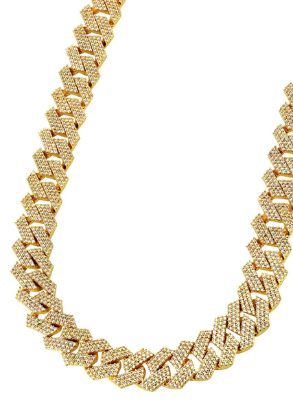 Diamond 14K Gold Mens Prong Set Cuban Link Chain