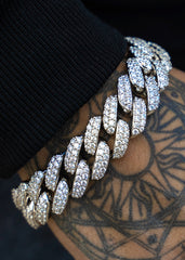 White Gold Diamond Miami Cuban Link Chain & Bracelet