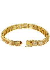 14K Gold Diamond Square Cluster Bracelet