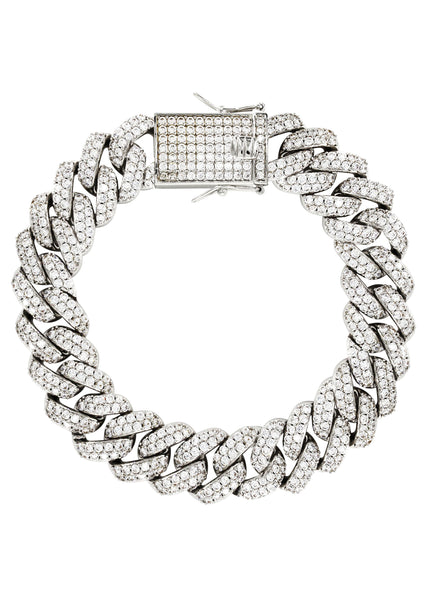 14K White Gold Mens Diamond Miami Cuban Link Bracelet