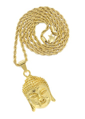 Mens Gold Rope Chain & Buddha Pendant | Appx. 30.8 Grams