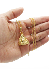 Mens Gold Cuban Link Chain & Buddha Pendant | Appx. 30.3 Grams