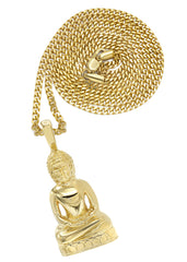 Mens Gold Plated Cuban Link Chain & Buddha Pendant | Appx. 36 Grams