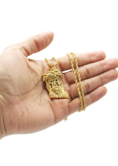 Mens Gold Rope Chain & Jesus Piece Chain | Appx. 32.8 Grams