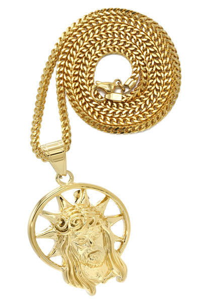 Mens Gold Cuban Link Chain & Jesus Piece Chain | Appx. 20 Grams