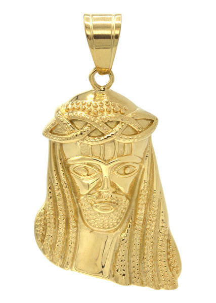 Mens Gold Jesus Head Pendant | 14.5 Grams