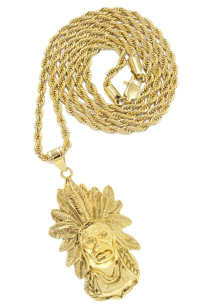 Mens Gold Plated Rope Chain & Chief Head Pendant | Appx. 34.6 Grams