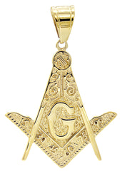 Mens Gold Mason Pendant | 9.5 Grams