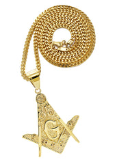 Mens Gold Plated Franco Chain & Freemason Pendant | Appx. 17.5 Grams