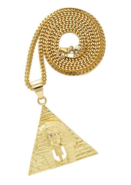 Mens Gold Franco Chain & Pharaoh Pendant | Appx. 21 Grams