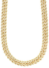 14k Gold Mens Chain Diamond Miami Cuban Link
