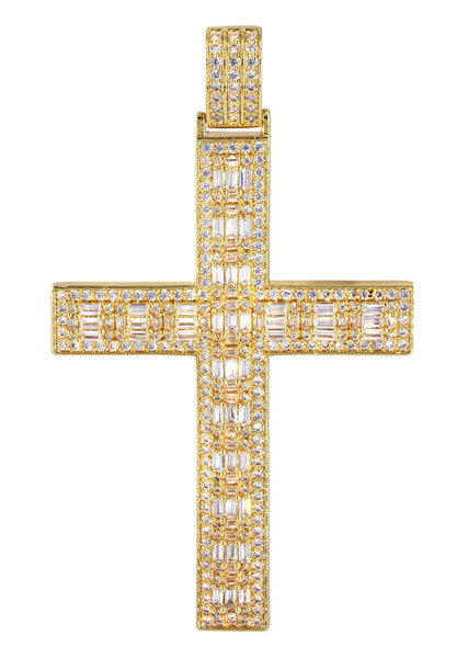 14K Gold Baguette Cross Pendant | 14.7 Grams