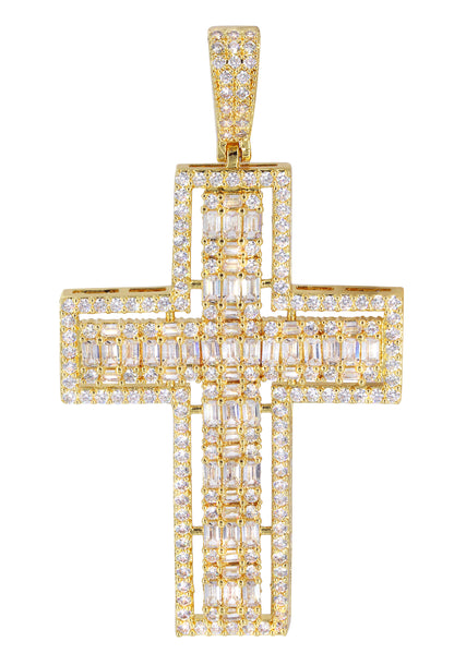 14K Gold Baguette Cross Pendant | 11.8 Grams
