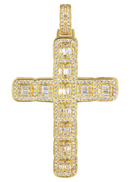14K Gold Baguette Cross Pendant | 13.6 Grams