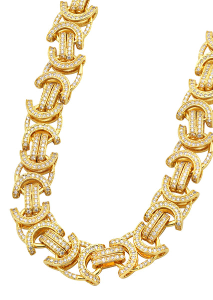 14K Gold Diamond Mens Byzantine Chain