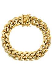 14K Gold Mens Solid Miami Cuban Link Bracelet