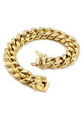 Mens Solid Miami Cuban Link Bracelet 14K Gold