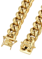 Mens Solid Miami Cuban Link 14K Gold Chain