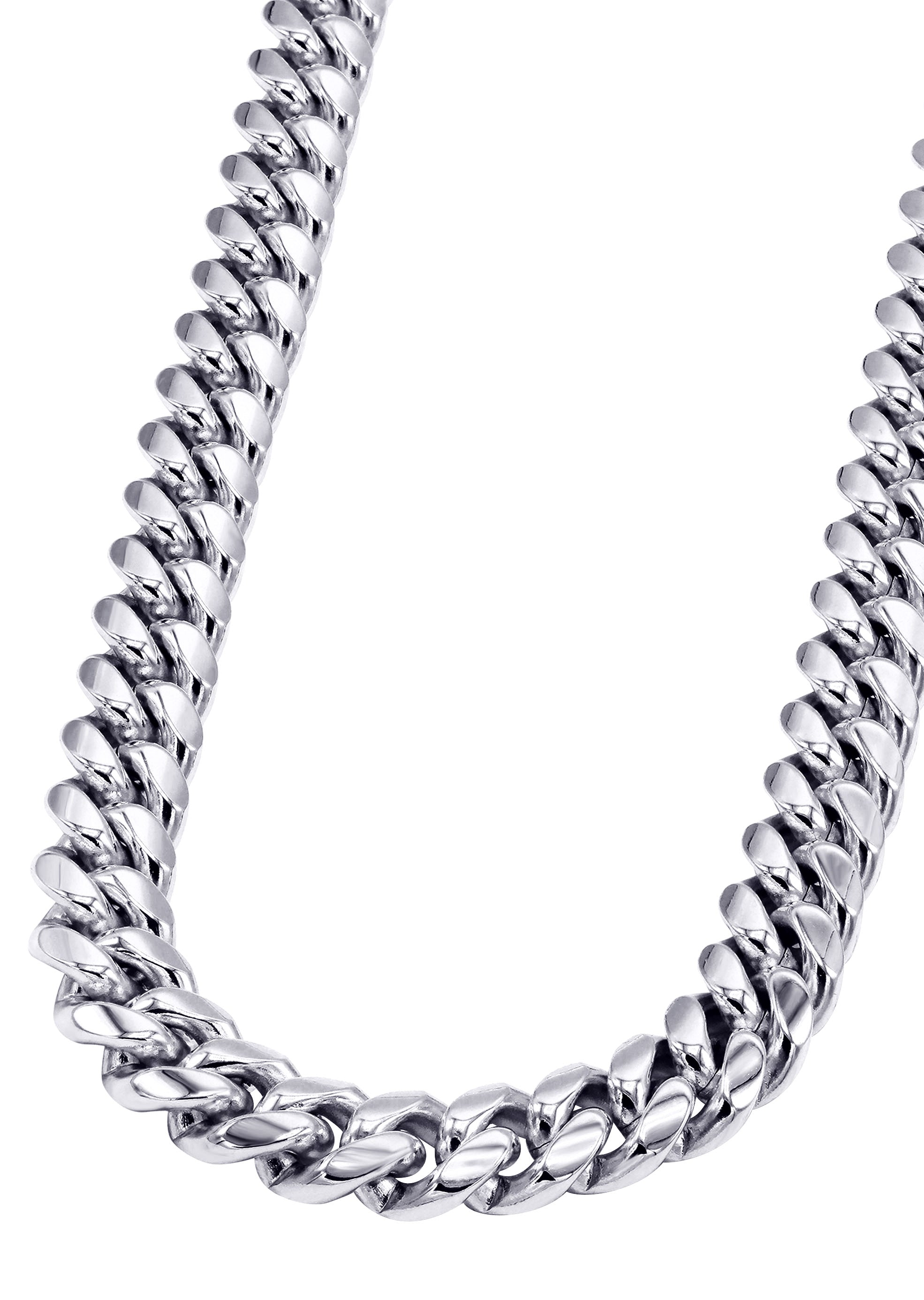 14K White Gold Mens Cuban Curb Chain Necklace