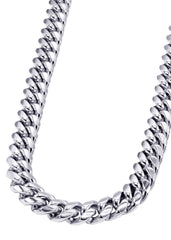 14K White Gold Mens Solid Miami Cuban Link Chain