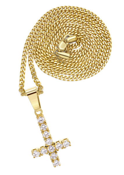 Mens Gold Cuban Link Chain & Cross Pendant | Appx. 10.7 Grams