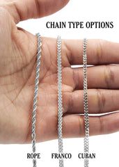 White Gold Cuban Link Chain & Jigsaw Pendant | Appx. 25 Grams