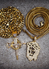 Diamond Jesus Piece & Cross With Cuban Chain & Franco Chain