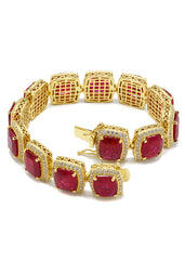 14k Gold Mens Iced Ruby Bracelet