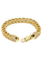 14K Gold Mens Iced Out Solid Franco Bracelet