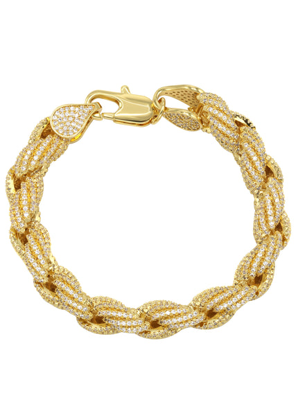 Mens Iced Out Solid Rope Bracelet 14K Gold